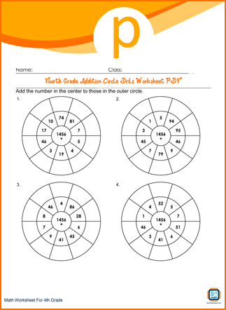Fourth Grade Addition Circle Drills Worksheet
