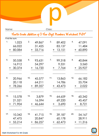Fourth Grade Addition of 3 Four Digit Numbers Worksheet