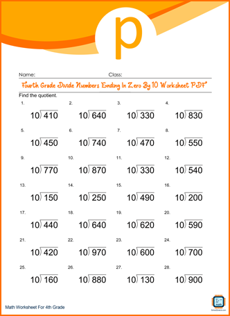 Fourth Grade Divide Numbers Ending In Zero By 10 Worksheet