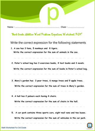 Third Grade Addition Word Problem Equations Worksheet