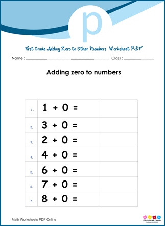 Adding Zero to Other Numbers Worksheet First Grade PDF