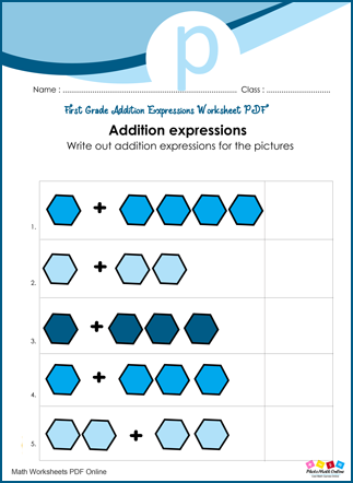 Addition Expressions Worksheet First Grade PDF