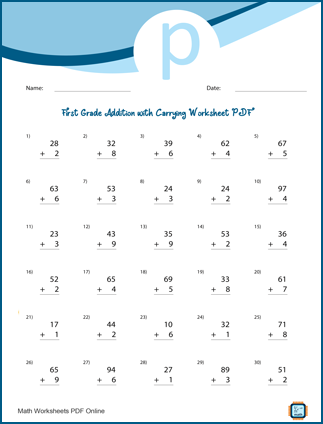 First Grade Addition with Carrying Worksheet