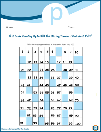 First Grade Missing Numbers Up to 100 Worksheet