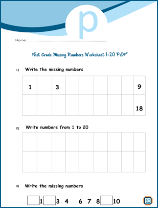 Missing Numbers Worksheet 1-20 For First Grade PDF Printable