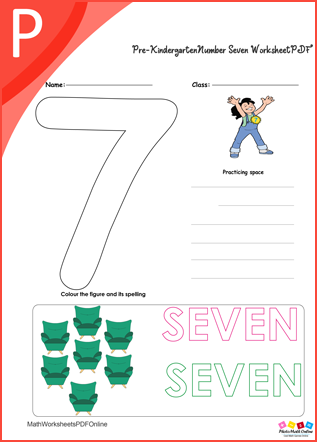 Number Seven Worksheet PDF For kindergarten