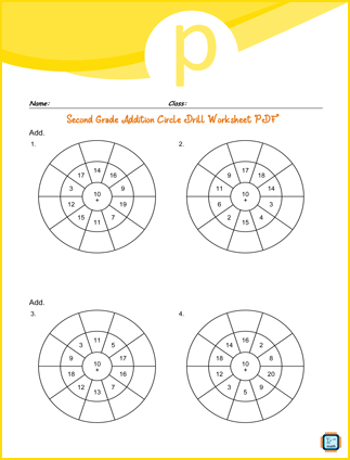 Addition Circle Drill For Second Grade PDF Printable