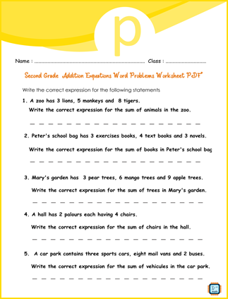 Addition Equations Word Problems For Second Grade PDF Printable