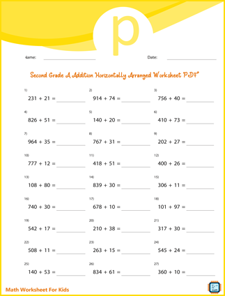 Addition And Find Missing Number For Second Grade PDF Printable