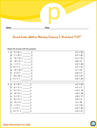 Addition Matchup Exercise 2 For Second Grade PDF Printable
