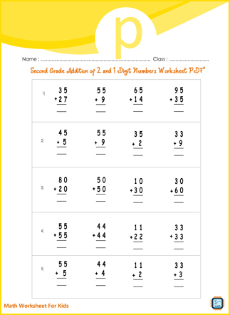 Addition of 2 to 1 Digit Numbers For Second Grade PDF Printable