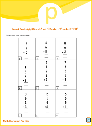 Addition of 3 and 4 Numbers For Second Grade PDF Printable