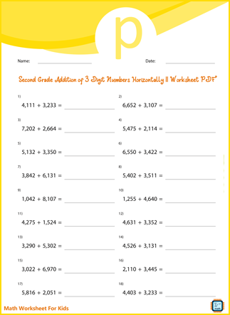 Addition of 3 Digit Numbers Horizontally II For Second Grade PDF