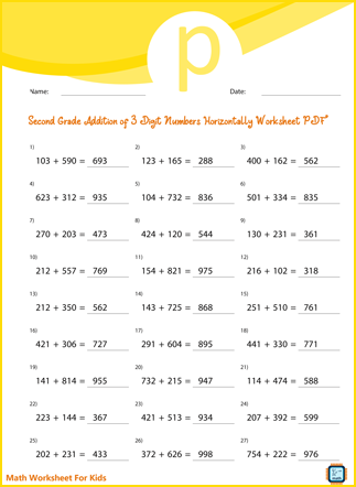 Addition of 3 Digit Numbers Horizontally For Second Grade PDF Printable