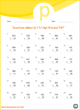 Addition of 3 to 2 Digit Numbers For Second Grade PDF