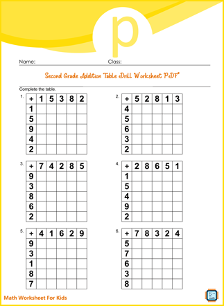 Second Grade Addition Table Drill Worksheet