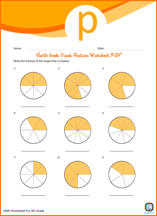 Fourth Grade Visual Fractions Worksheet