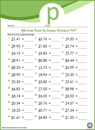 Round-Up Decimals Grade 5 Worksheet PDF With Answers