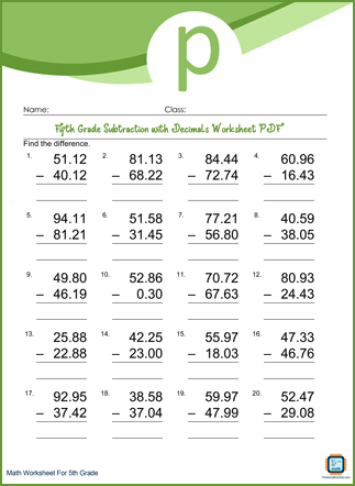 Subtraction with Decimals Grade 5 Worksheet PDF With Answers
