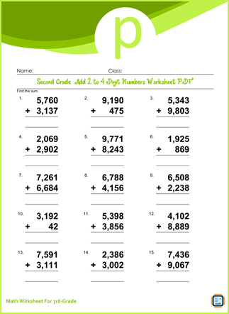 Add 2 to 4 Digit Numbers For Third Grade PDF Printable