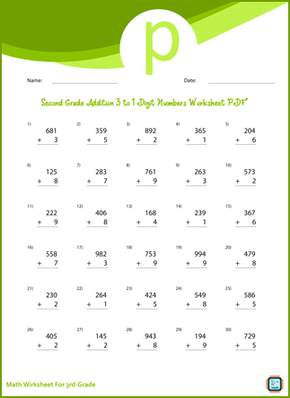 Addition 3 to 1 Digit Numbers For Third Grade PDF Printable