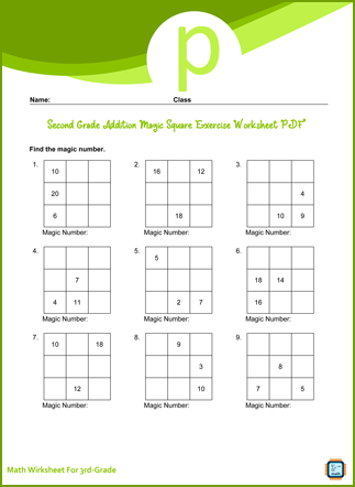 Addition Magic Square Exercise For Third Grade PDF Printable