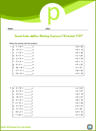 Addition Matchup Exercises II For Third Grade PDF Printable For Free