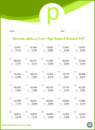 Addition of 5 and 4 Digit Numbers For Third Grade PDF Printable For Free