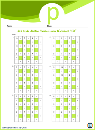 Third Grade Addition Puzzles Lower Worksheet